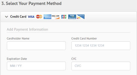 Ipvanish fill out payment method