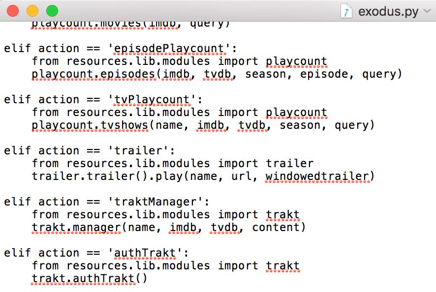 Sample Kodi Python code