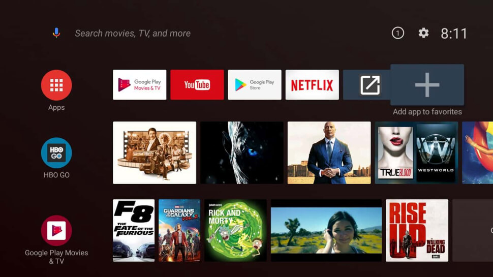 newest android tv box home screen interface with apps